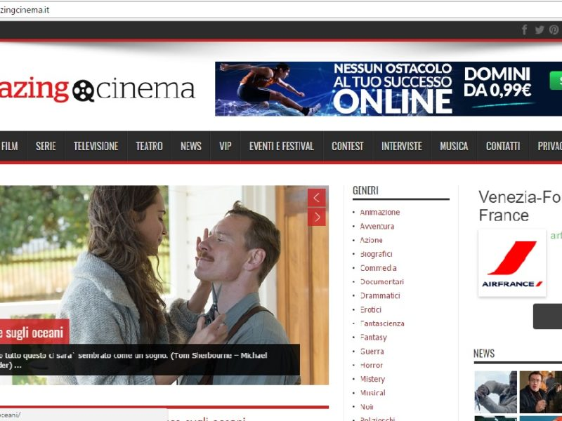 Screenshot homepage Amazing Cinema