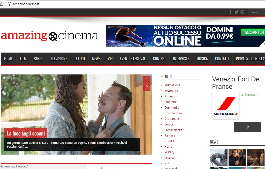 Screenshot homepage Amazing Cinema